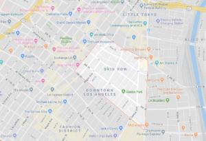 ロサンゼルス治安 ダウンタウン 地図