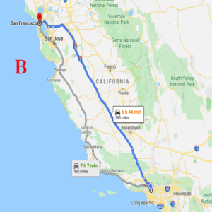 ロサンゼルスーサンフランシスコ 移動手段 車 格安